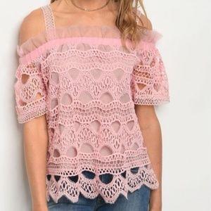Cold Shoulder Pink Lace Crochet Detail Top